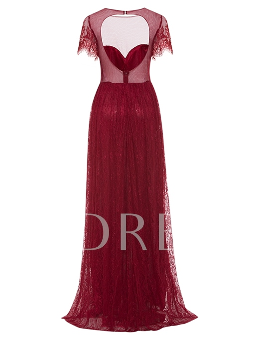 Scoop Neck Bacless Lace A Line Evening Dress