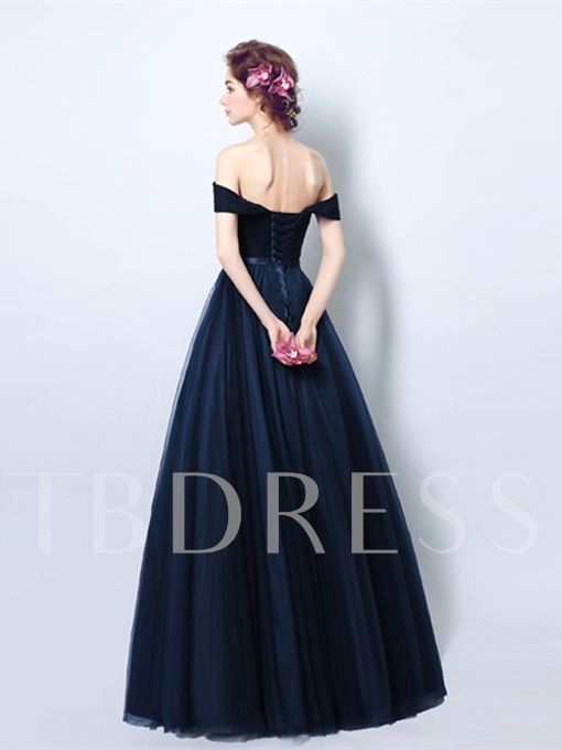 A-Line Pleats Sashes Off-the-Shoulder Evening Dress