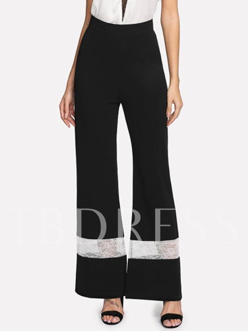 Color Block High Waist Wide Legs Women's Pants