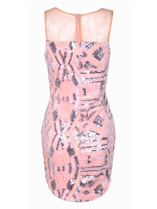 Pink V-Neck Sequins Sleeveless Women's Party Dress