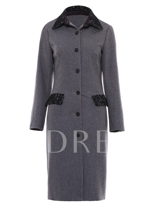 Slim Lace Patchwork Button Women's Overcoat