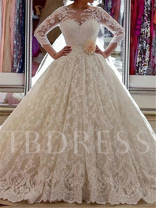 Long Sleeve Ball Gown Lace Wedding Dress