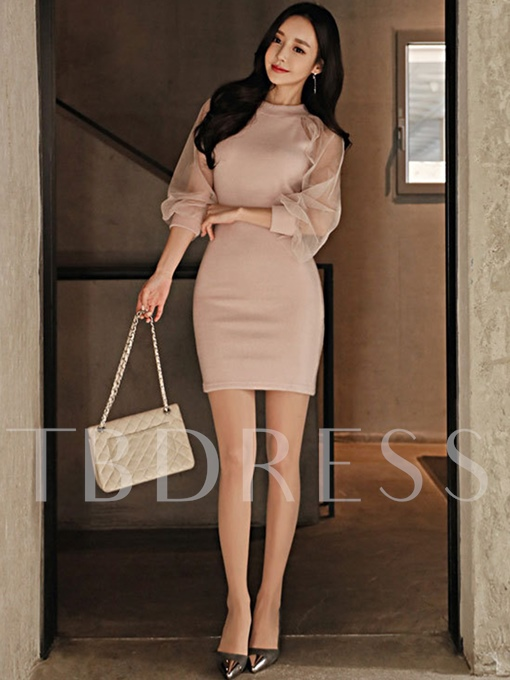Pink Patchwork Women's Bodycon Dress