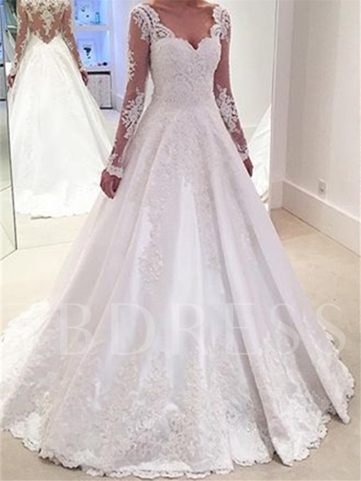 V-Neck Long Sleeves Appliques A Line Wedding Dress