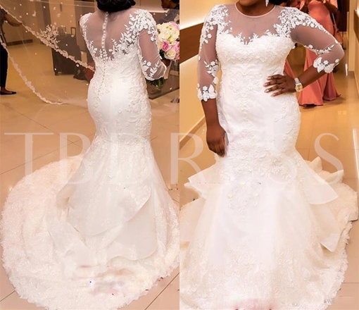 3/4 Length Sleeves Appliques Mermaid Wedding Dress