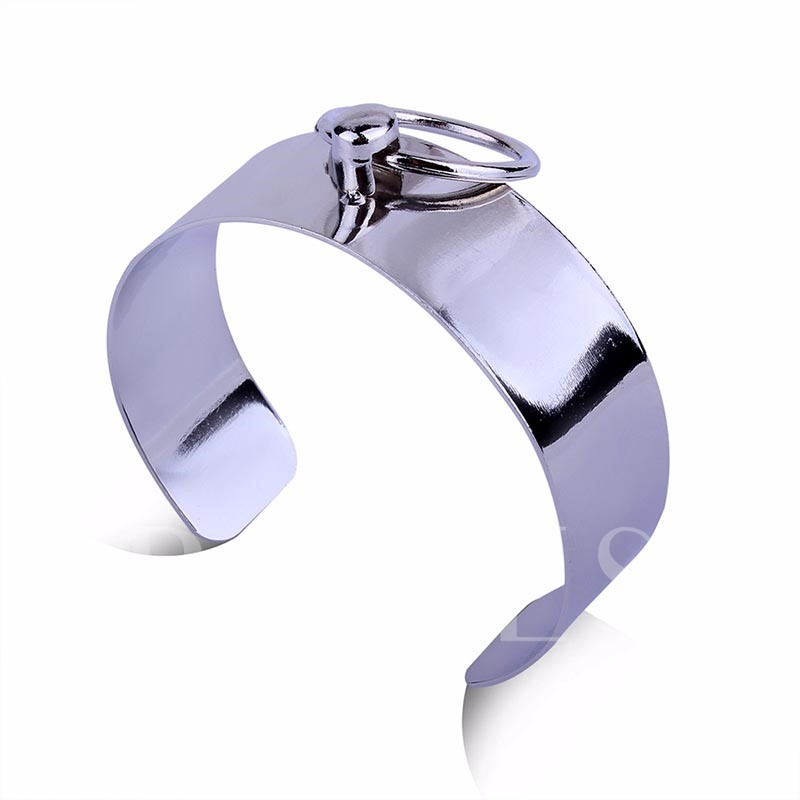 Silver Plated Punk Alloy Circle Bracelet