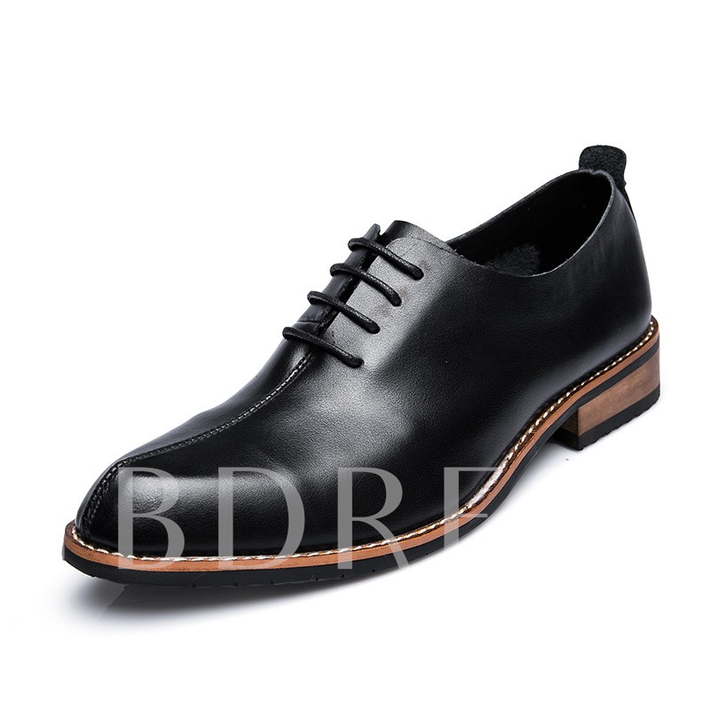 Japanned Leather Thread Block Heel Men's Formal Shoes