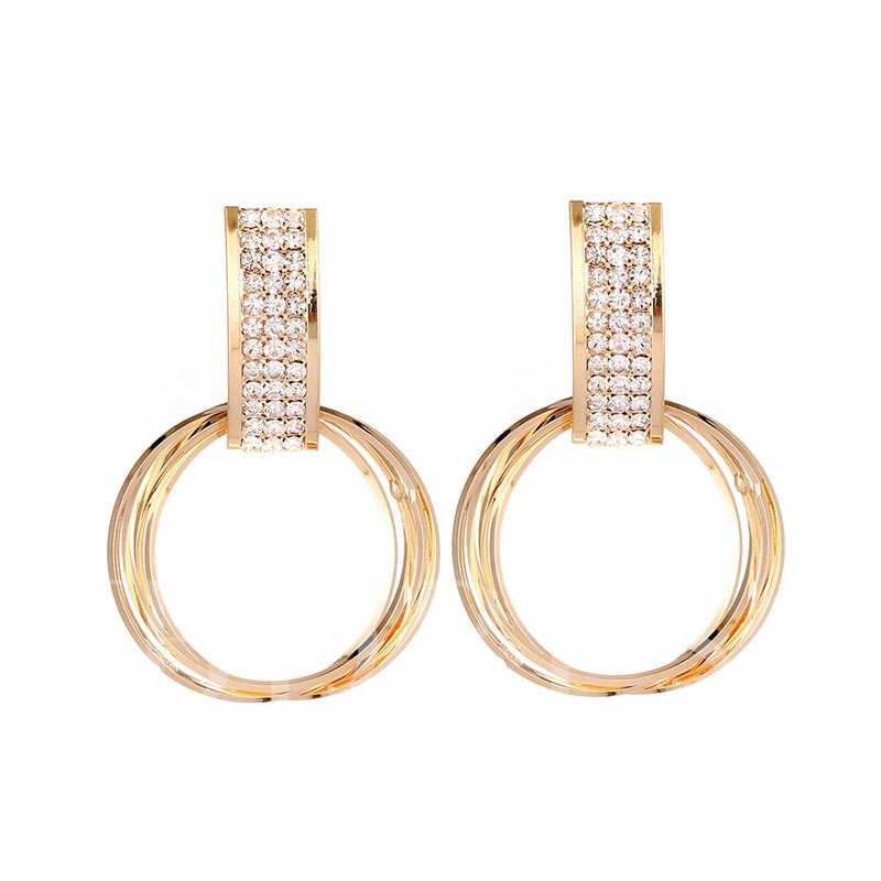 Diamante Geometric Round Earrings