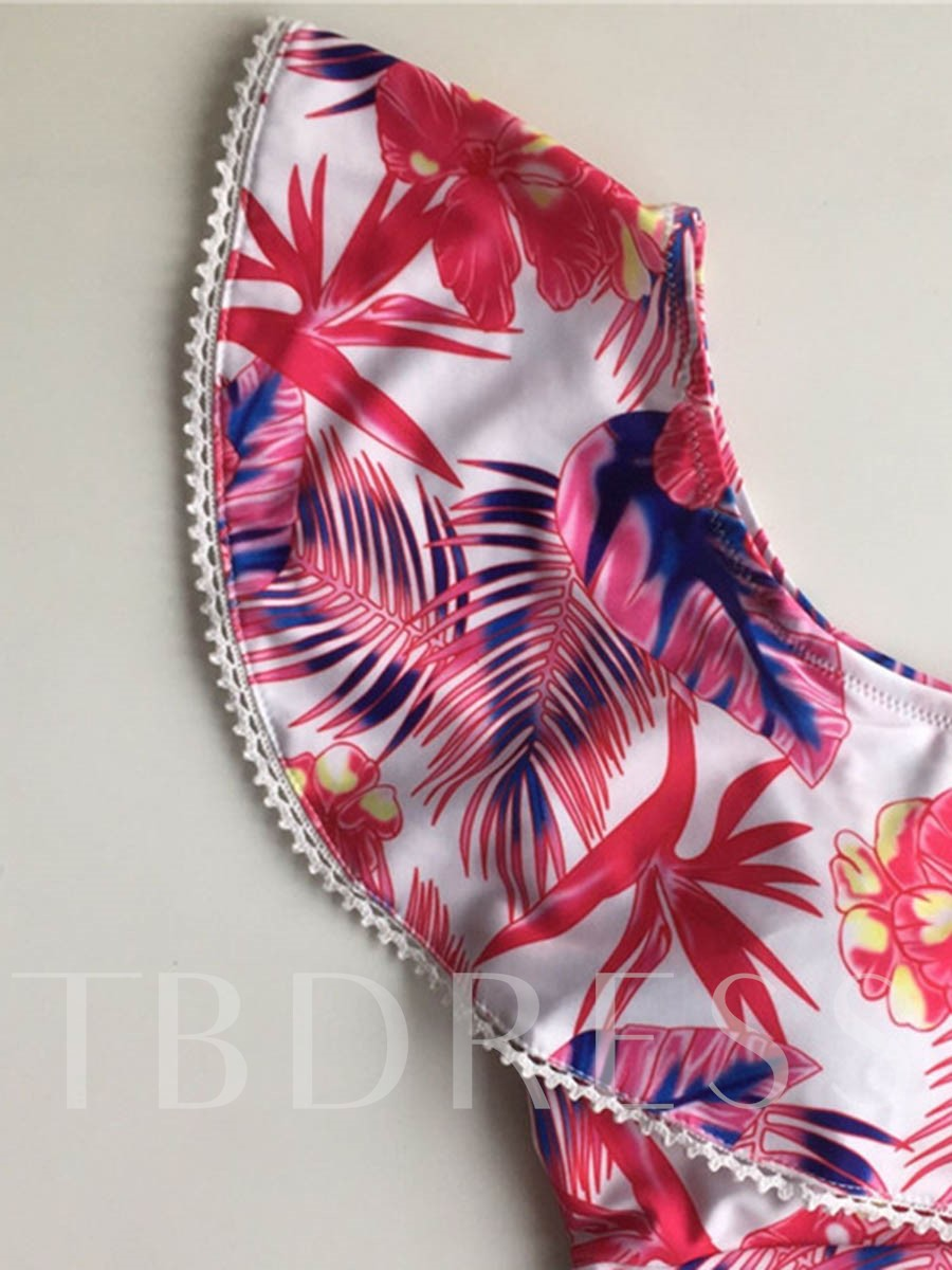 Off-The-Shoulder Floral Falbala One-Piece Swimsuit