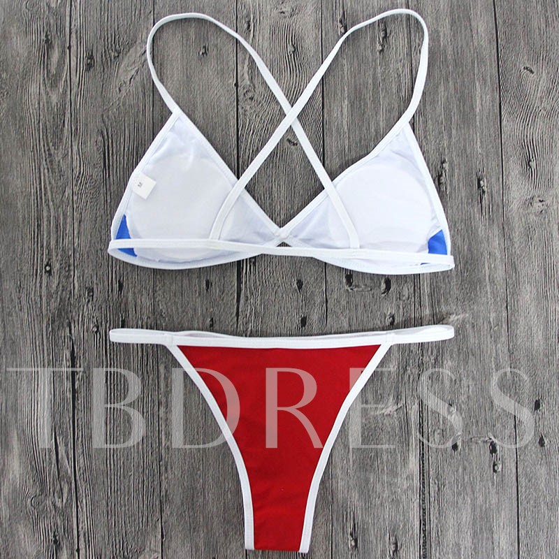 Simple Color Block Women's Bikini Set