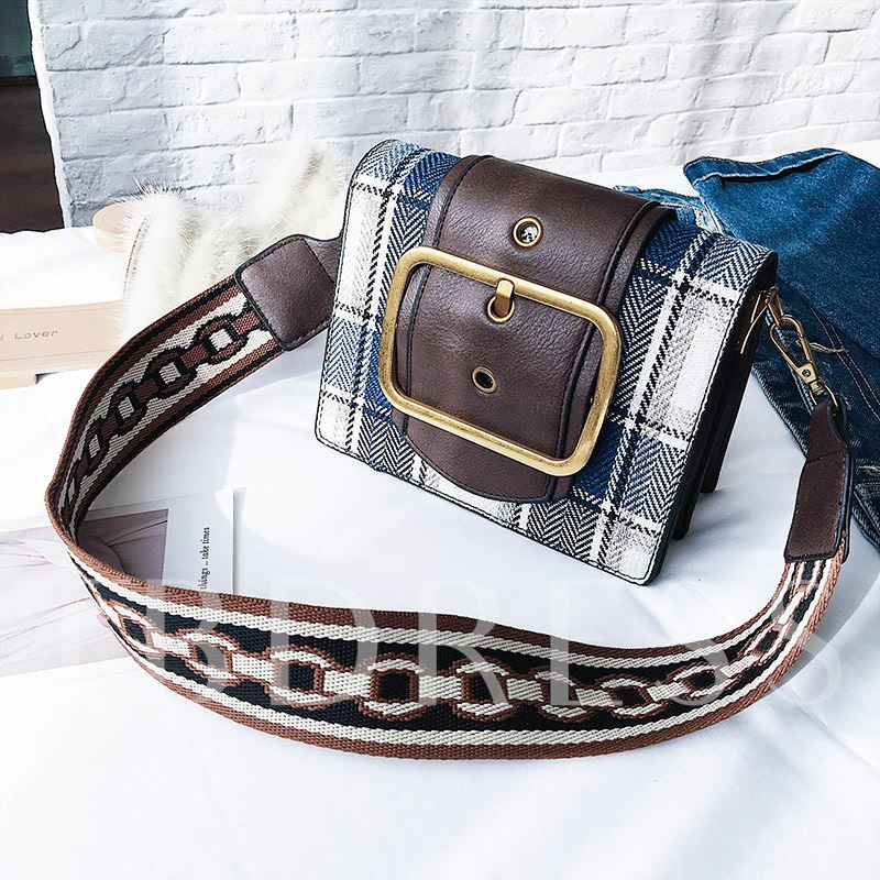 Fashion Belt-Decorated Plaid Cross Body Bag