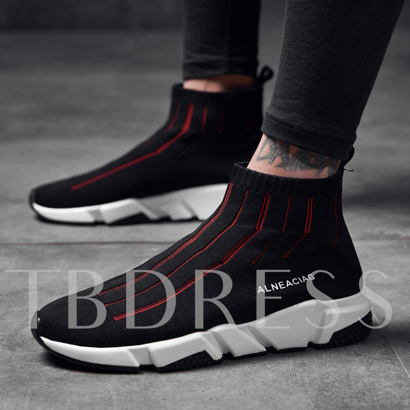 Contract Color Breathable Mesh Men's Athletic Shoes