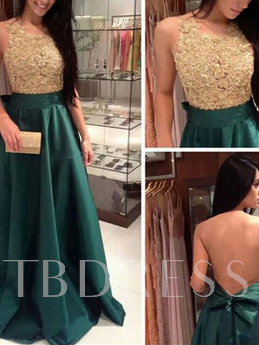Bowknot A-Line Sashes Scoop Appliques Floor-Length Prom Dress