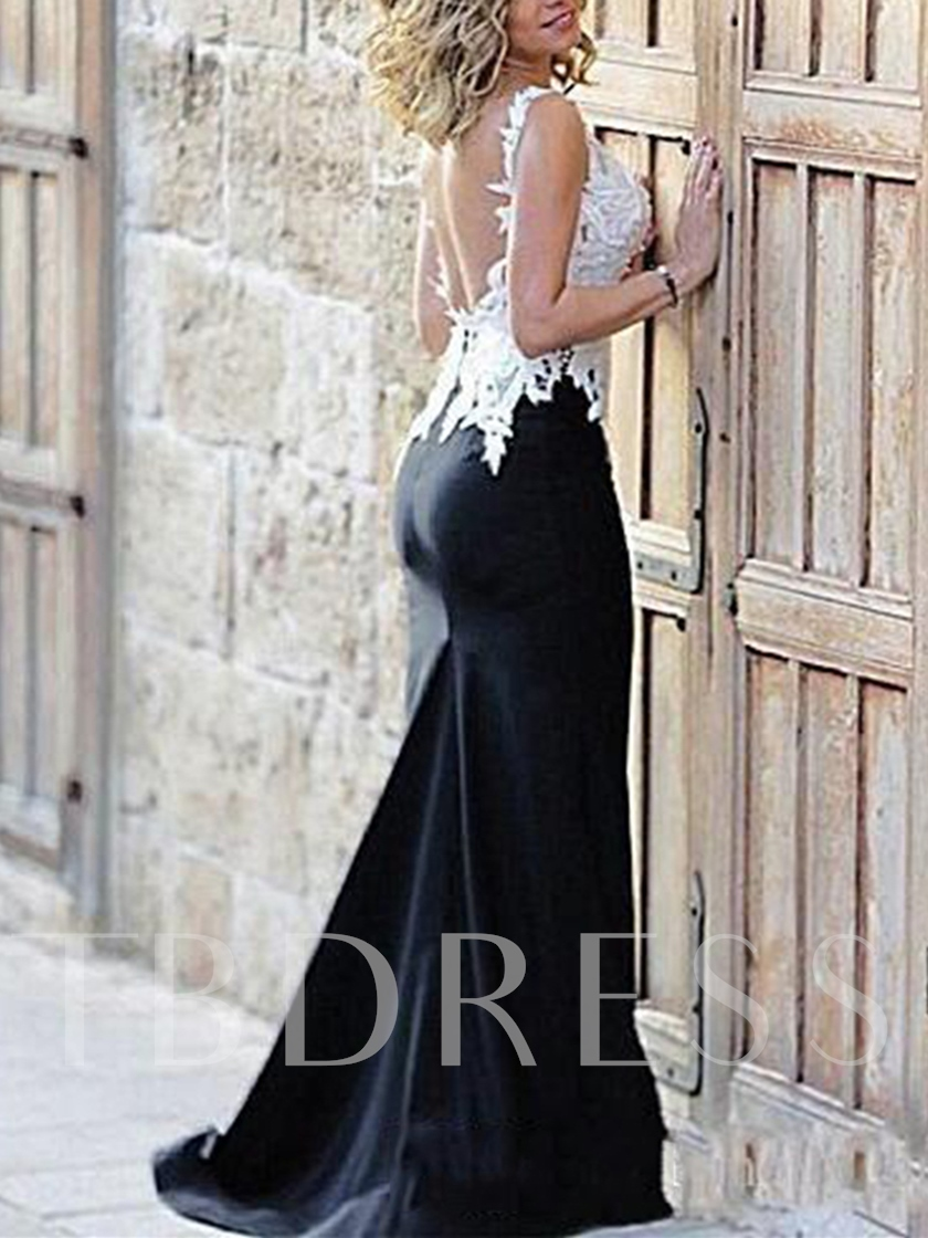 V-Neck Appliques Low Back Evening Dress