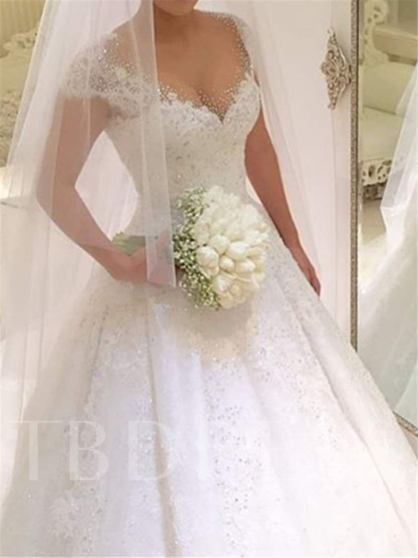 Cap Sleeve Beading Lace Ball Gown Wedding Dress