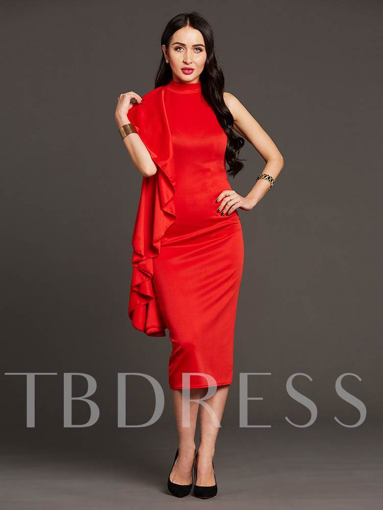 Red Falbala Back Zipper Women's Sheath Dress