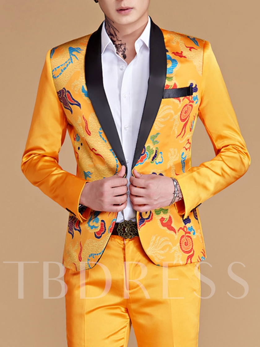Red/Yellow/Sky Blue/Royal Blue Floral Print One Button Slim Men's Dress Suit