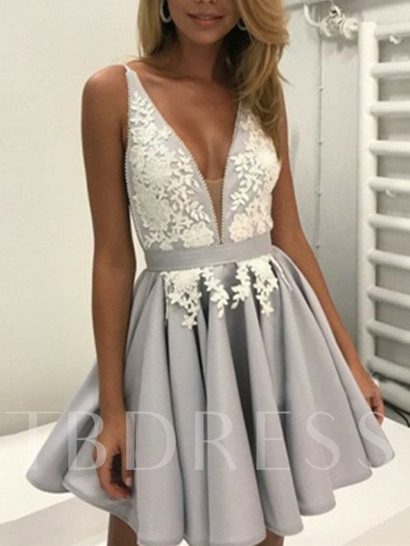 A-Line Appliques V-Neck Sashes Mini Homecoming Dress