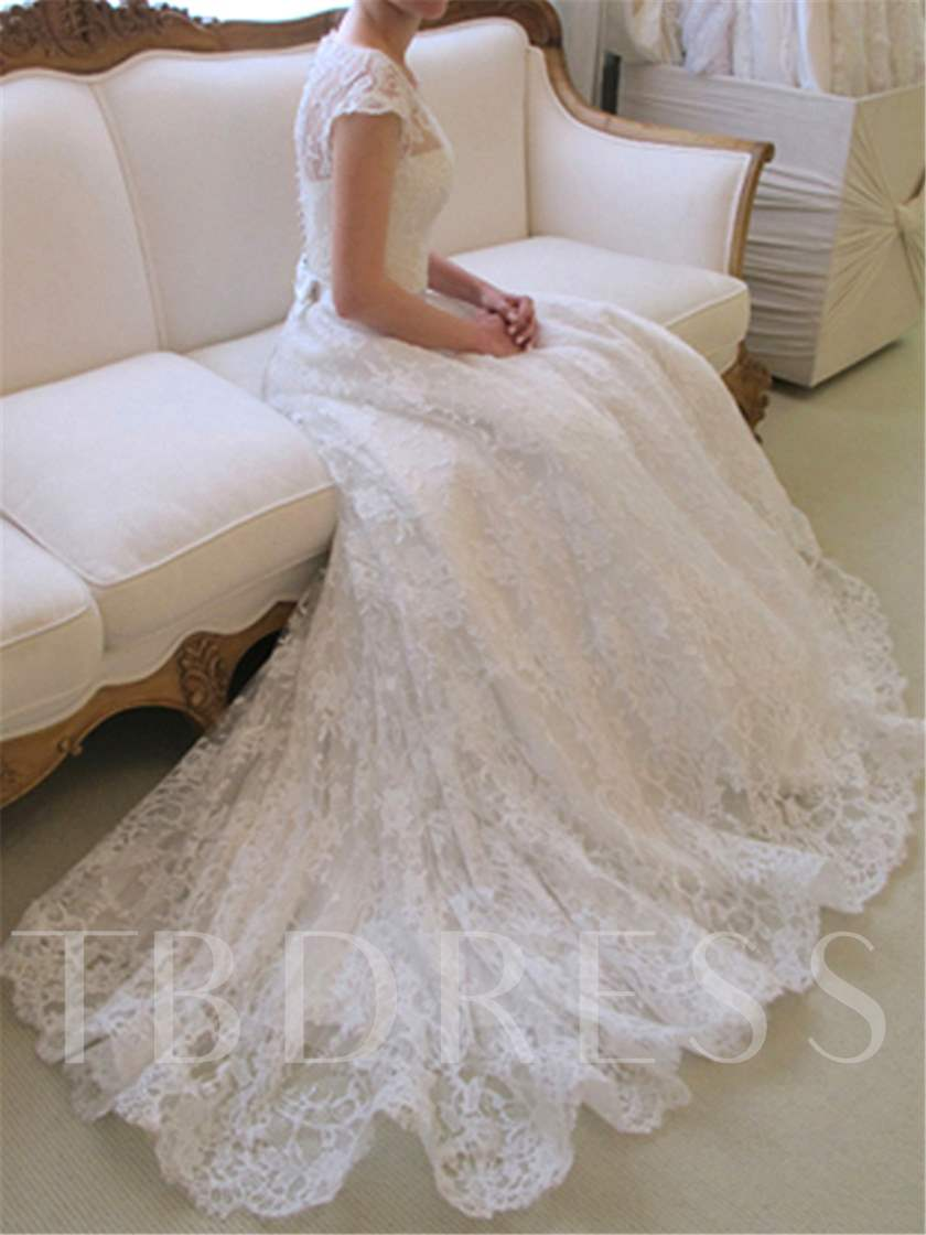 Cap Sleeves Button Bowknot Lace Wedding Dress