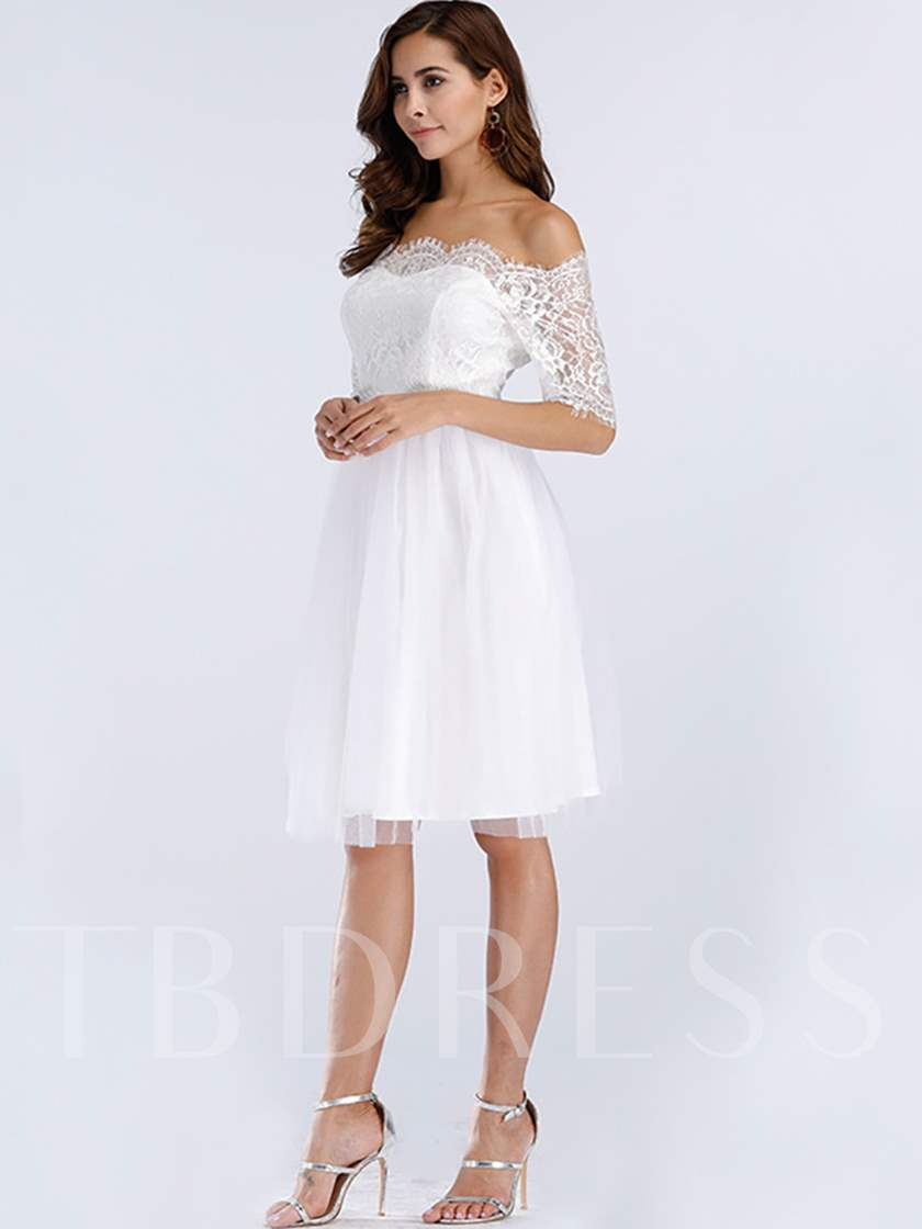 Off White Half Sleeve Women's Day Dress