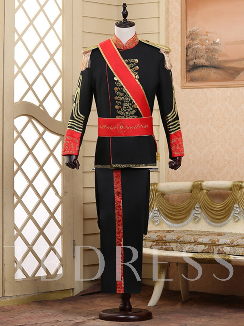 Gold Print Slim Costume Men's Dress Suit