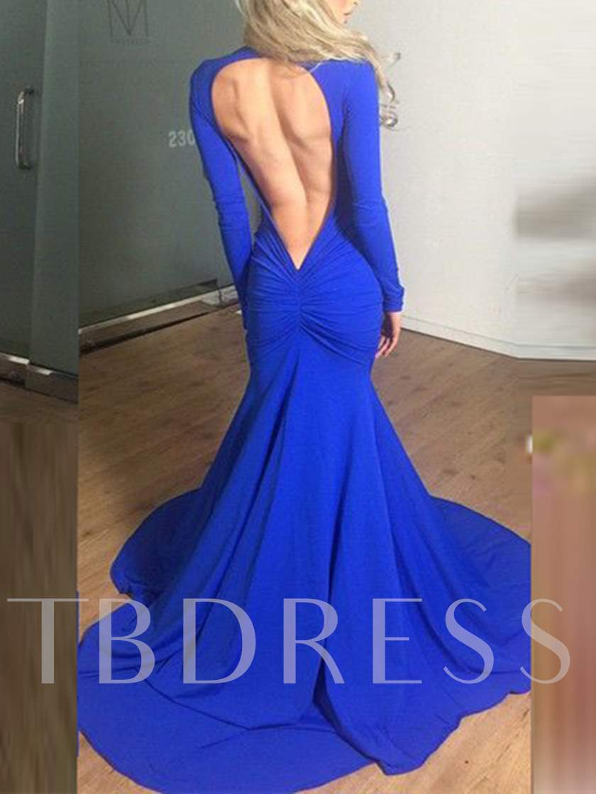 Long Sleeves Deep V-Neck Backless Evening Dress