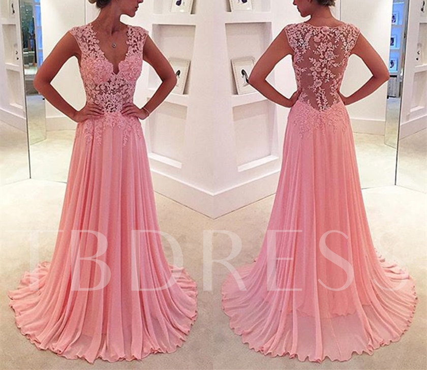 Sheath Hollow V-Neck Appliques Sweep Train Evening Dress