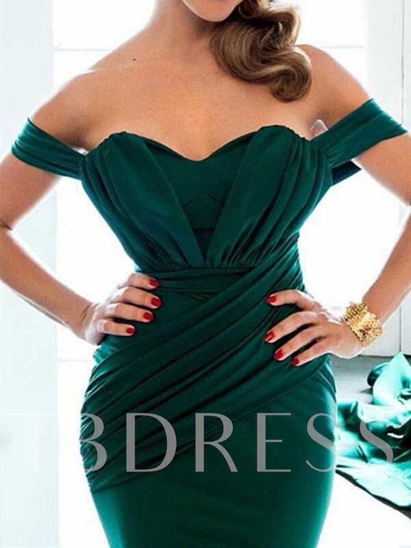 Off the Shoulder Pleats Mermaid Evening Dress