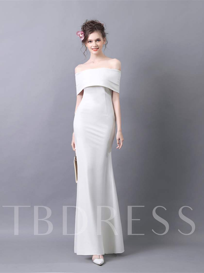 A-Line Short Sleeves Off-the-Shoulder Evening Dress