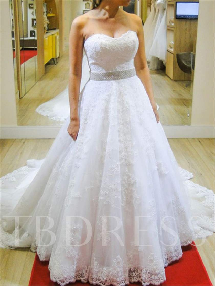 Sweetheart Beading Lace Appliques Court Train Wedding Dress