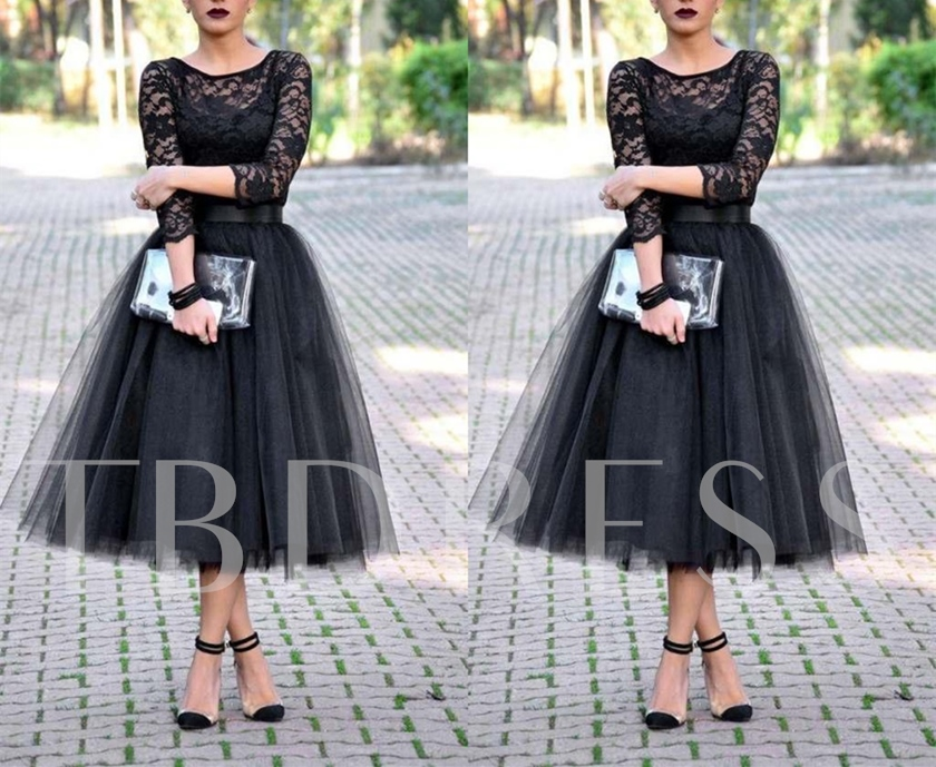 A-Line Scoop 3/4 Length Sleeves Lace Tea-Length Evening Dress
