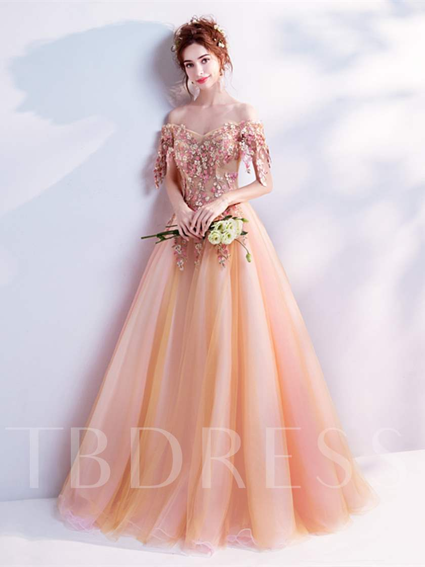 Off-the-Shoulder Flowers Pearls Quinceanera Dress