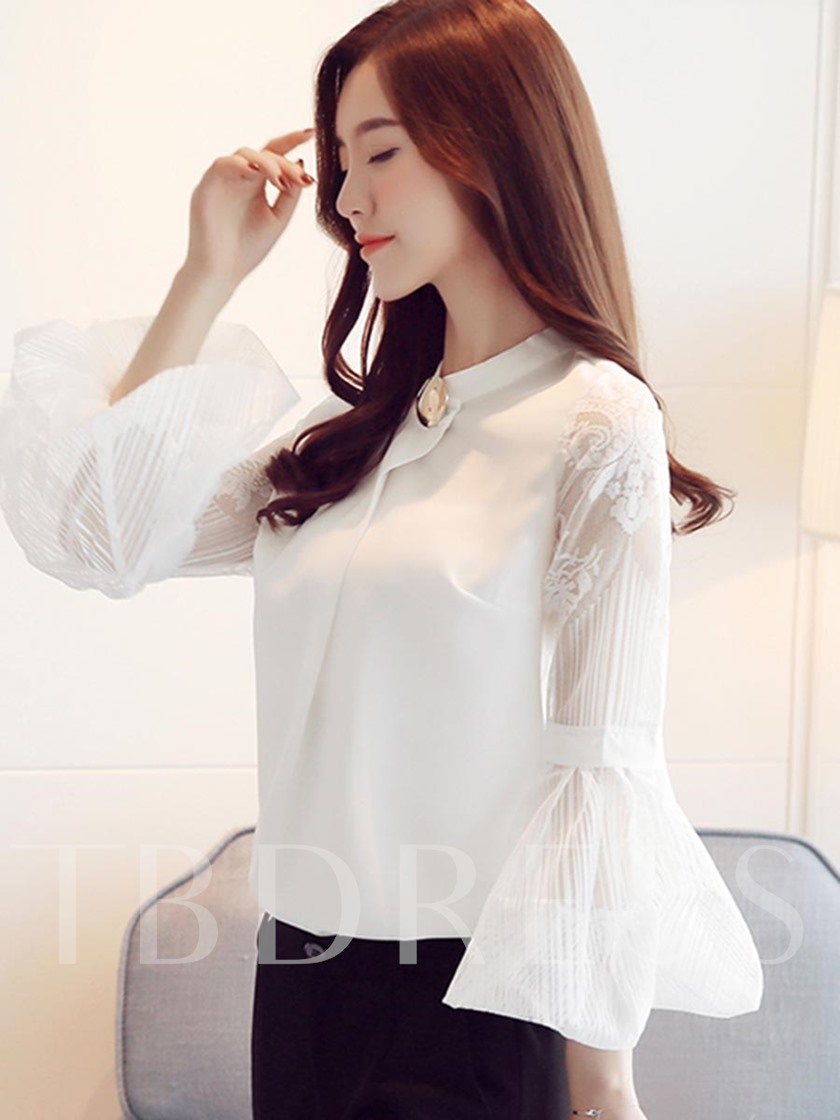 Slim Fit Mesh Flare Sleeve Women's Blouse