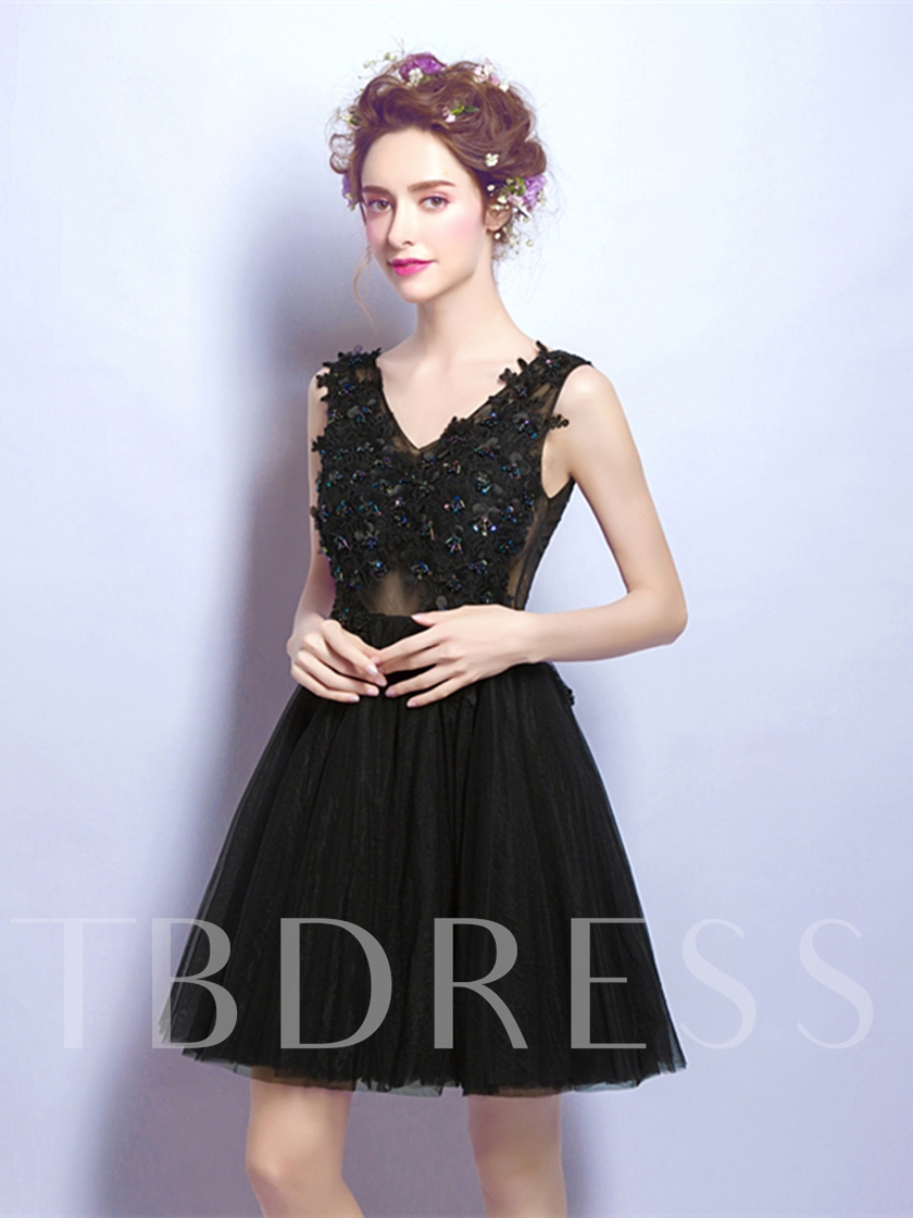 A-Line V-Neck Beading Flowers Cocktail Dress