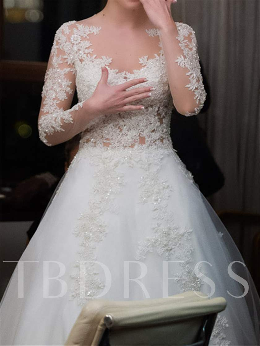 Sheer Back Appliques Long Sleeve Wedding Dress
