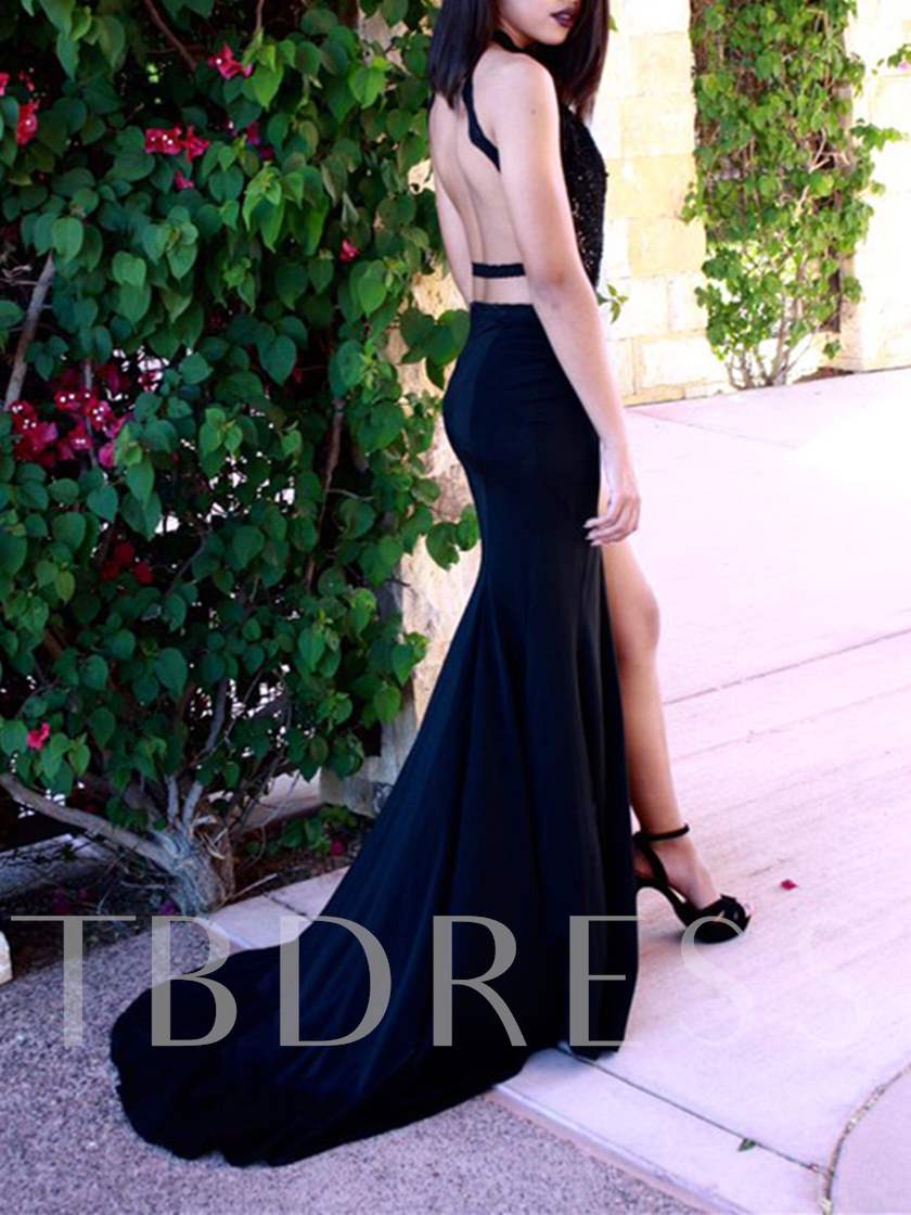Sexy Sheath Halter Appliques Backless Evening Dress