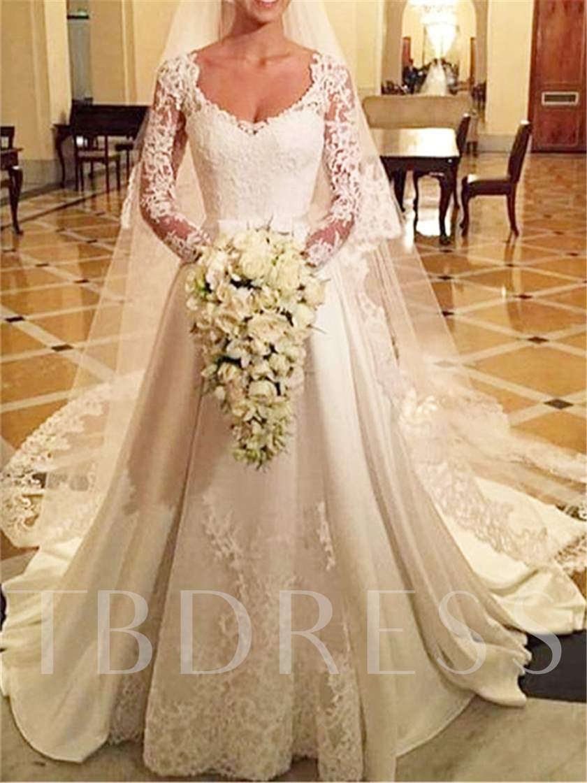 Lace Long Sleeve Matte Satin A-Line Wedding Dress