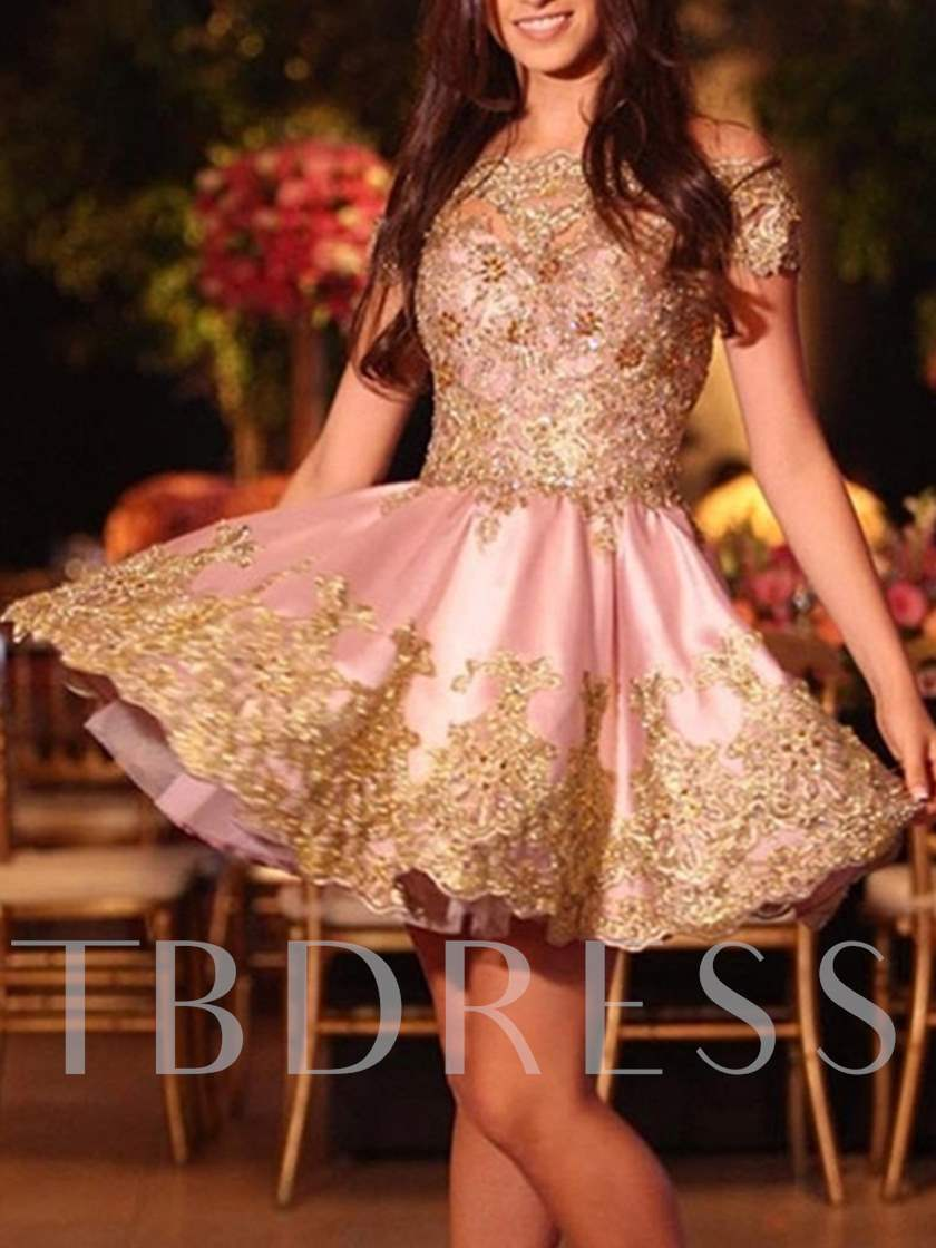 A-Line Off-the-Shoulder Appliques Beading Short Homecoming Dress