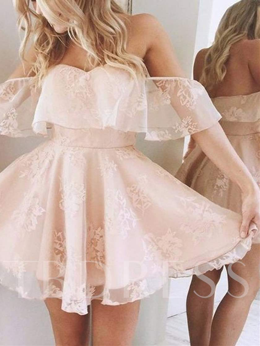 Off-the-Shoulder Lace A-Line Mini Homecoming Dress