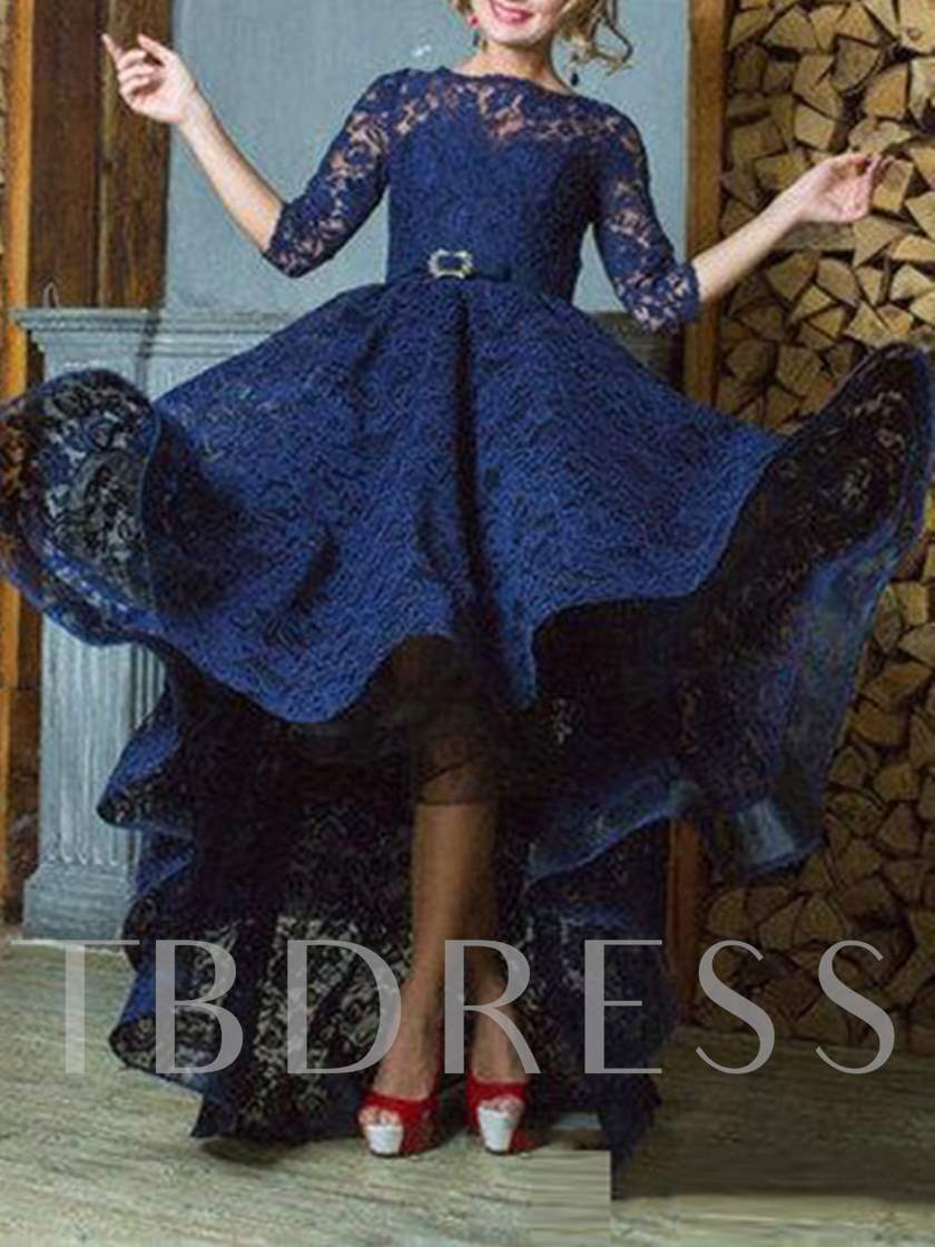 A-Line Bateau 3/4 Length Sleeves Lace Sashes Asymmetry Evening Dress