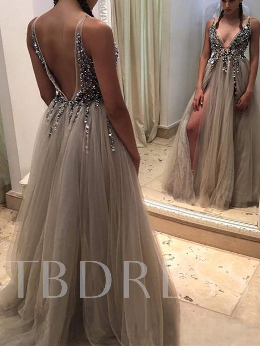 Backless A-Line V-Neck Beading Split-Front Floor-Length Evening Dress