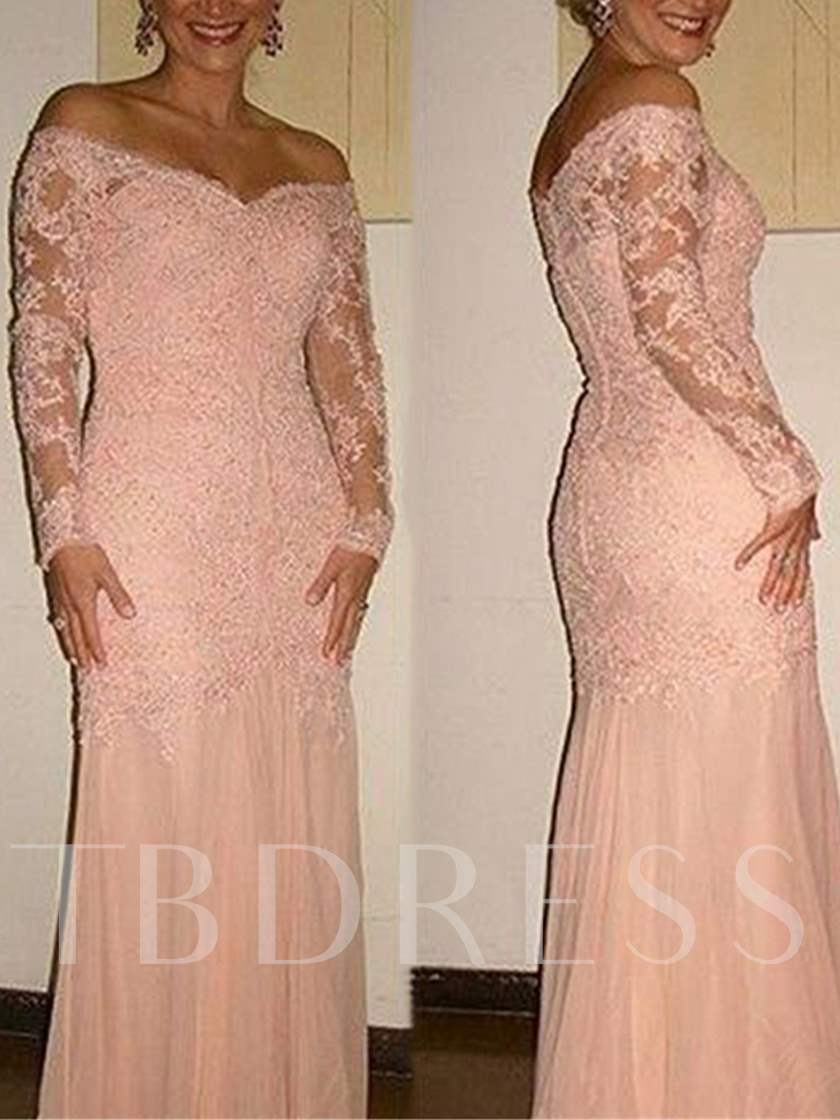 Appliques Button Sheath Mother of the Bride Dress