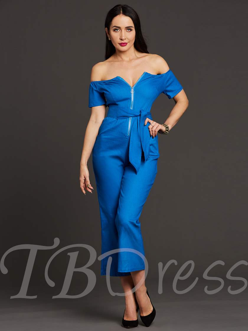 Backless Wide Legs Lace-Up Mid-Calf Women's Jumpsuit