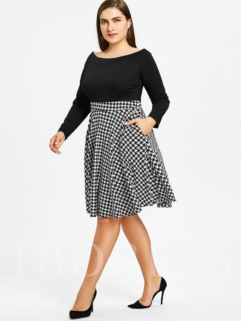 Plus Size Off Shoulder Pockets Women's Day Dress