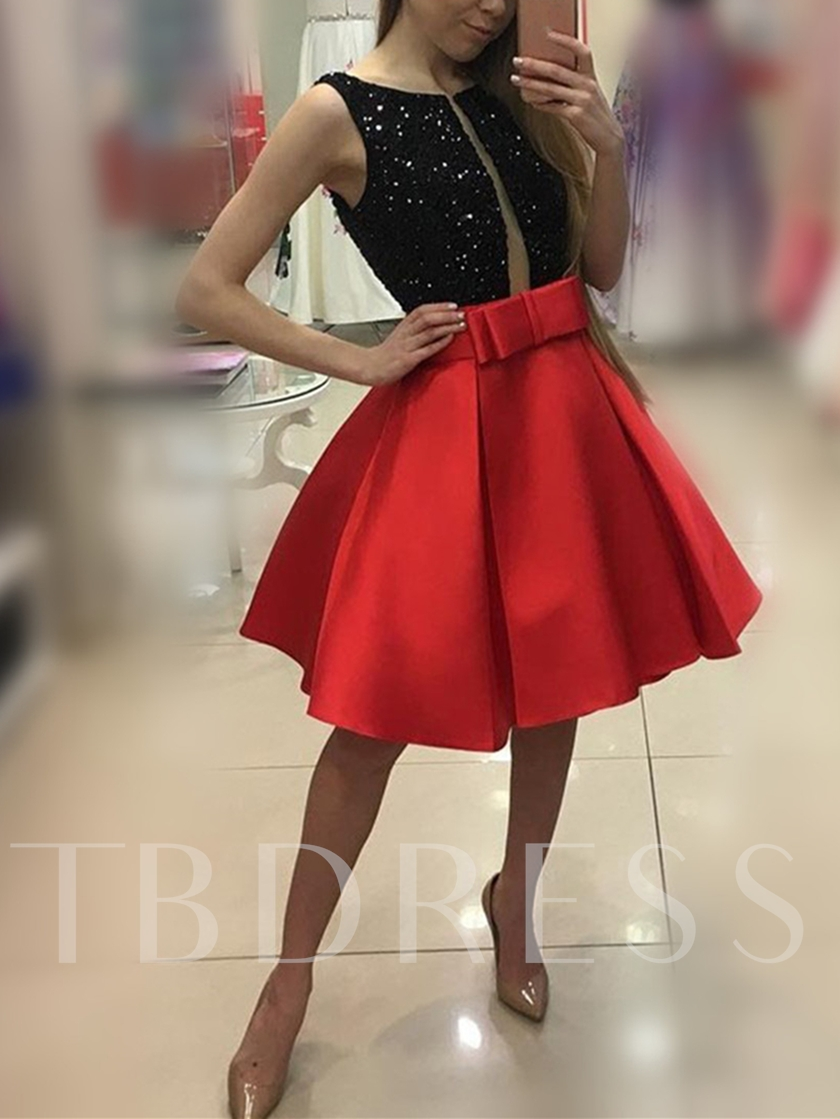 A-Line Scoop Bowknot Sequins Mini Homecoming Dress