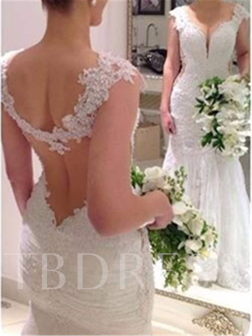 See-Through Lace Mermaid Appliques Wedding Dress