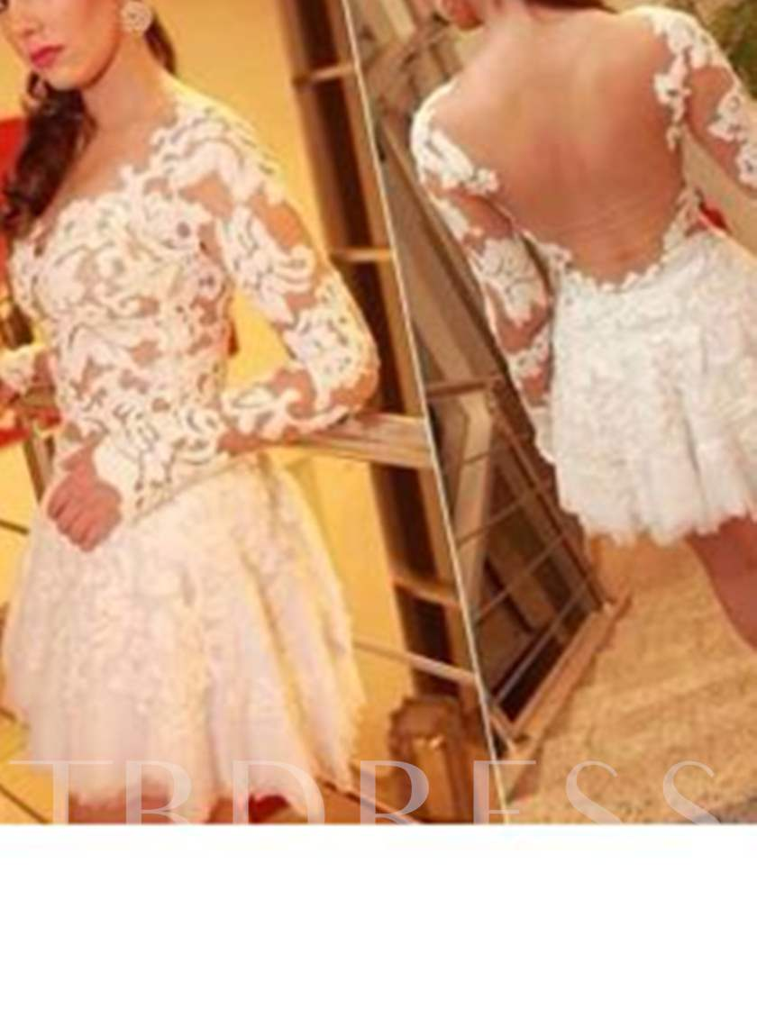 Long Sleeves A-Line Sweetheart Appliques Lace Cocktail Dress