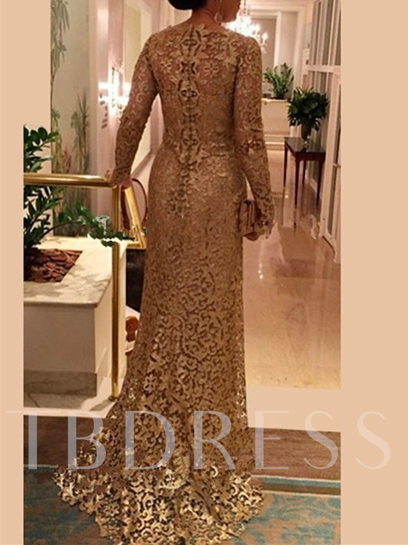 Long Sleeve Sheath Lace Mother of the Bride Dress