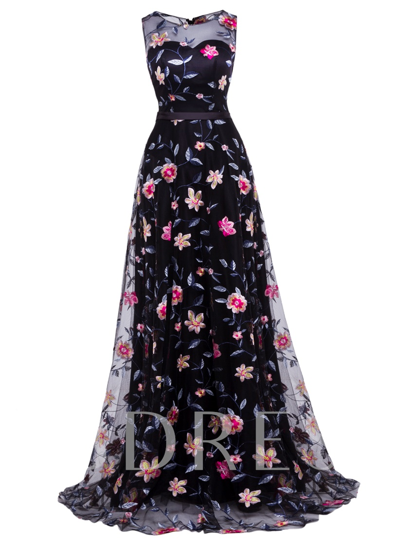 Scoop Neck Lace Printed A Line Evening Dress