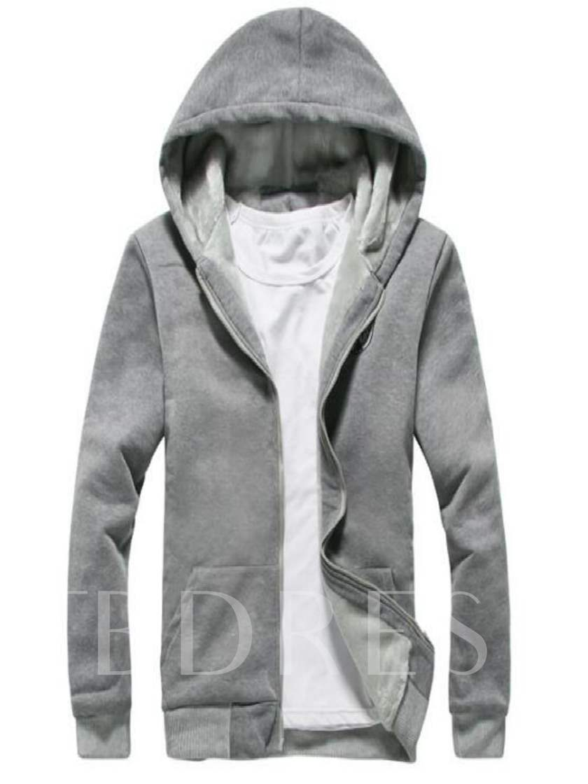 Hooded Solid Color Thicken Warm Slim Men's Sports Suit